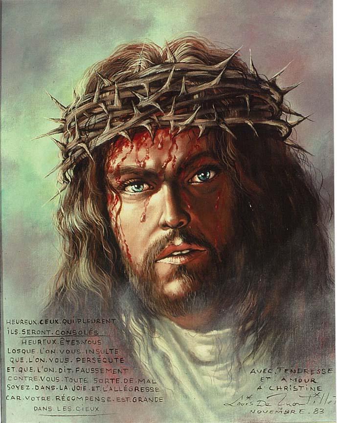portrait of christ greeting card louis montillet artist