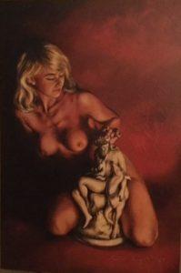 Nue avec statue